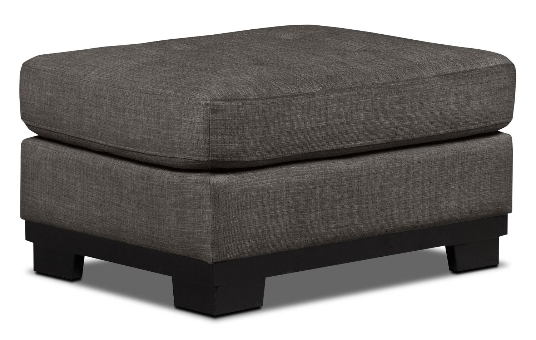 Oakdale Linen-Look Fabric Ottoman – Platinum