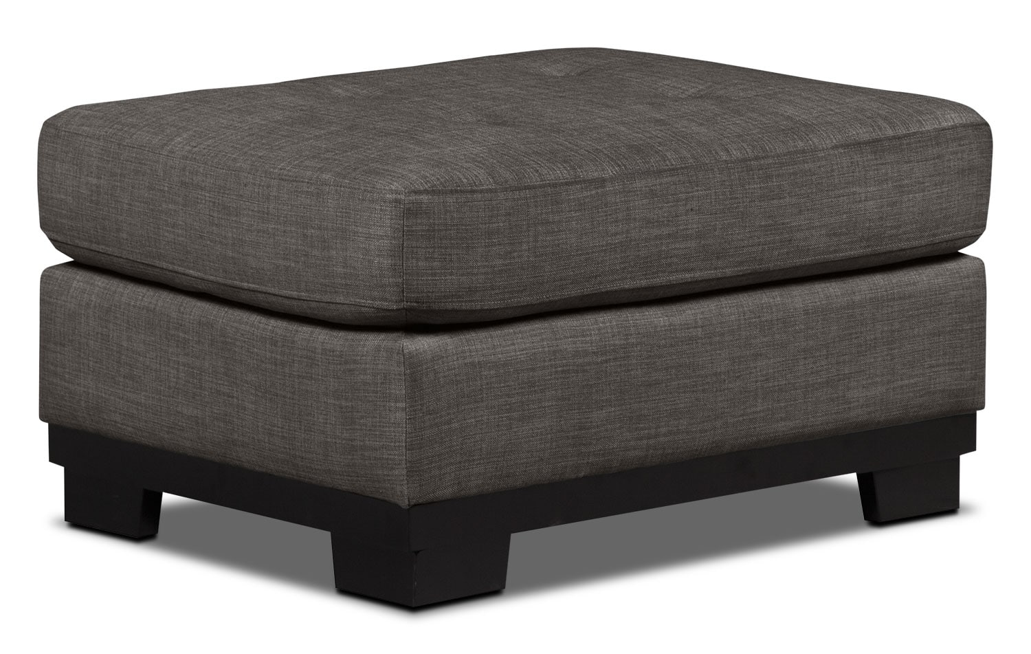 Living Room Furniture - Oakdale Linen-Look Fabric Ottoman – Platinum