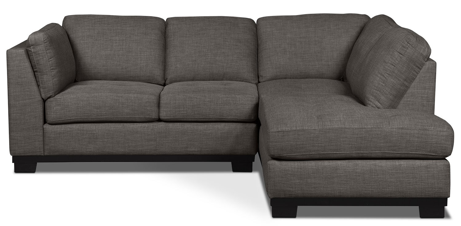 Living Room Furniture - Oakdale 2-Piece Linen-Look Fabric Right-Facing Sectional – Platinum