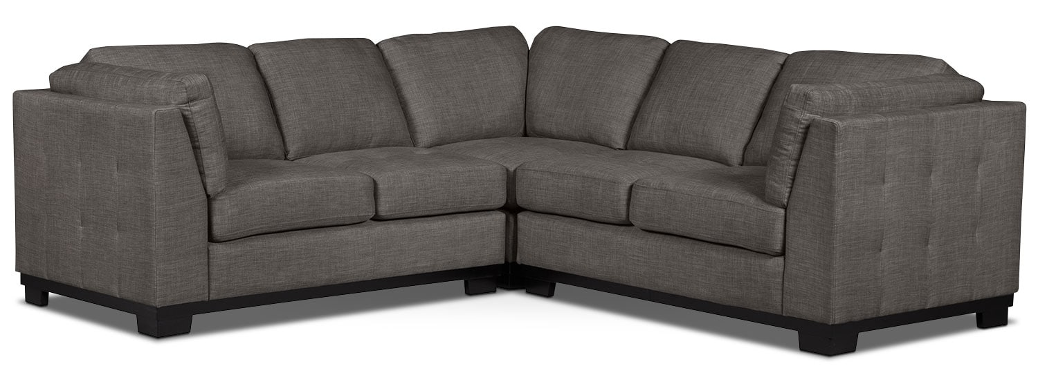 Living Room Furniture - Oakdale 3-Piece Linen-Look Fabric Living Room Sectional – Platinum