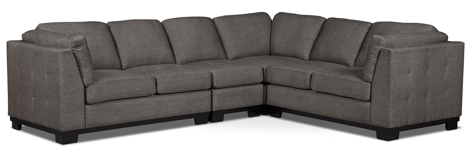Living Room Furniture - Oakdale 4-Piece Linen-Look Fabric Living Room Sectional – Platinum