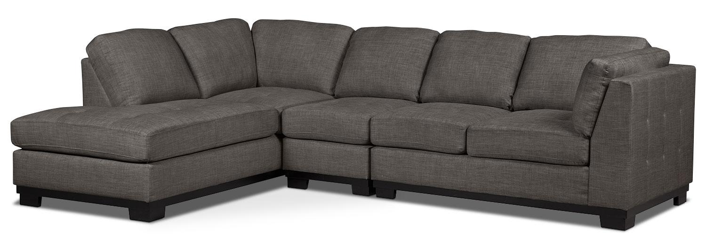 Oakdale 3-Piece Linen-Look Fabric Left-Facing Sectional – Platinum