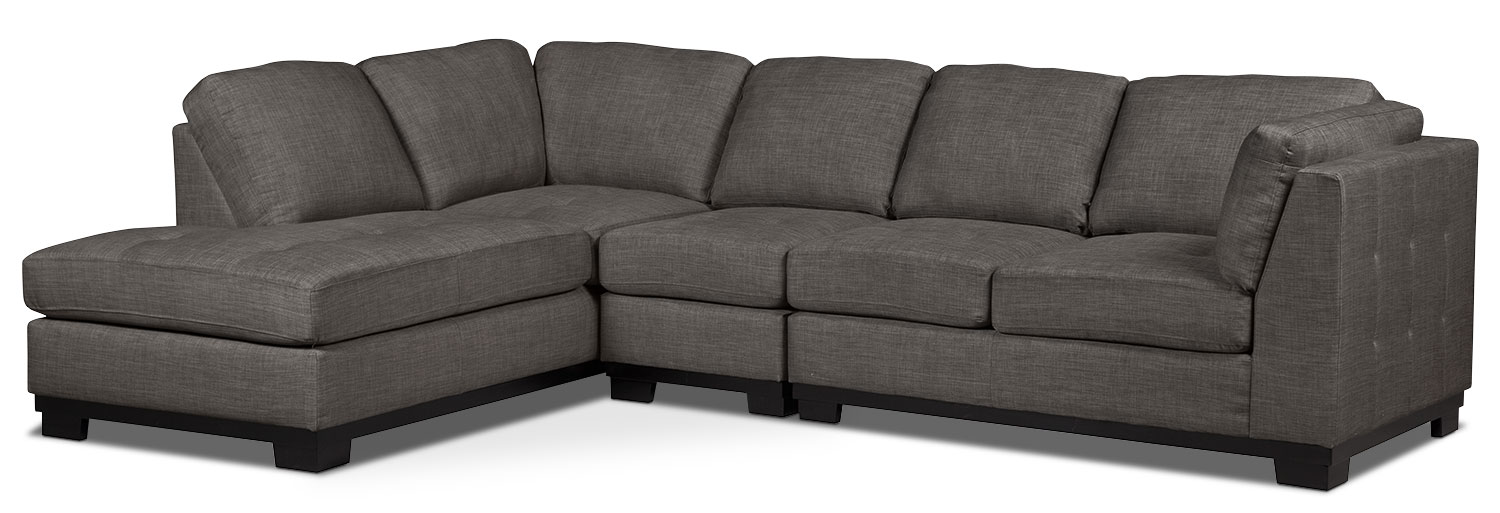 Living Room Furniture - Oakdale 3-Piece Linen-Look Fabric Left-Facing Sectional – Platinum