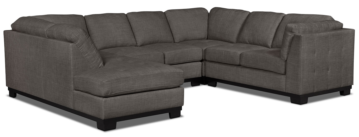 Living Room Furniture - Oakdale 4-Piece Linen-Look Fabric Left-Facing Sectional – Platinum
