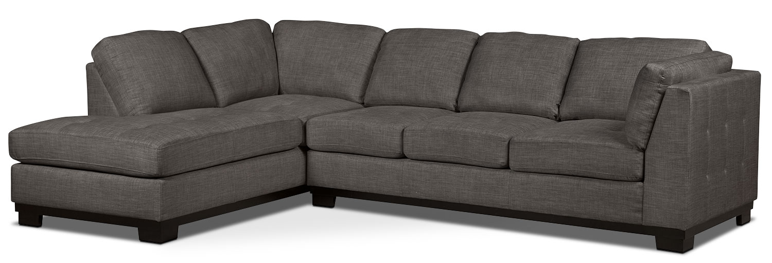Oakdale 2-Piece Linen-Look Fabric Left-Facing Sectional with Sofa Bed – Platinum