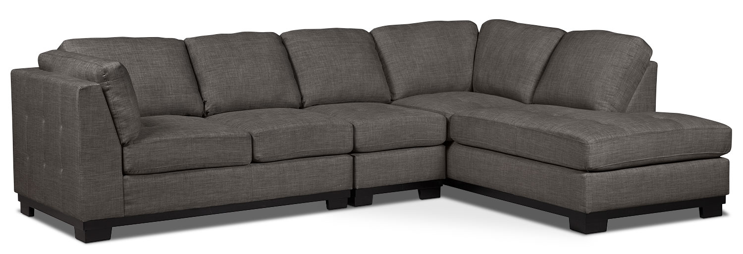 Living Room Furniture - Oakdale 3-Piece Linen-Look Fabric Right-Facing Sectional – Platinum