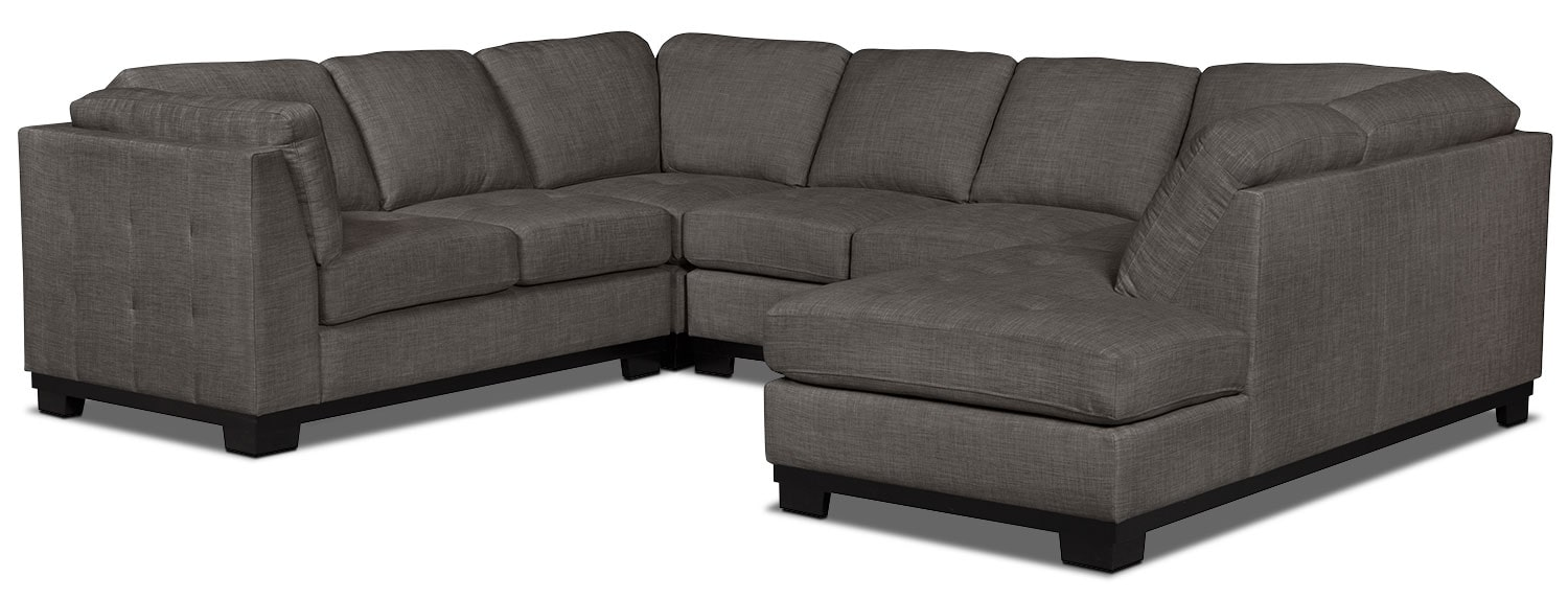 Living Room Furniture - Oakdale 4-Piece Linen-Look Fabric Right-Facing Sectional – Platinum