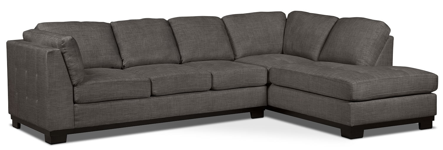 Living Room Furniture - Oakdale 2-Piece Linen-Look Fabric Right-Facing Sectional with Sofa Bed – Platinum