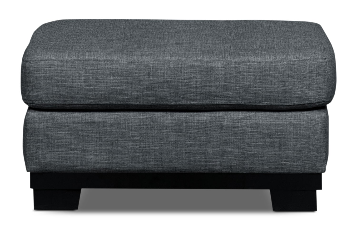 Living Room Furniture - Oakdale Linen-Look Fabric Ottoman – Steel