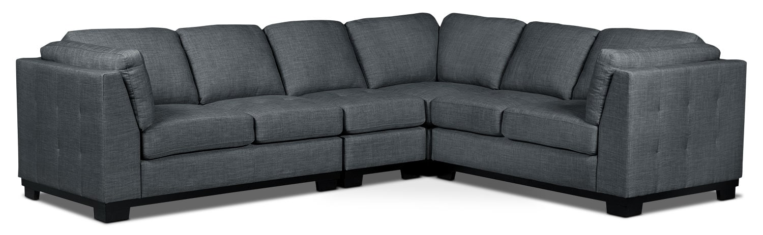 Living Room Furniture - Oakdale 4-Piece Linen-Look Fabric Living Room Sectional – Steel
