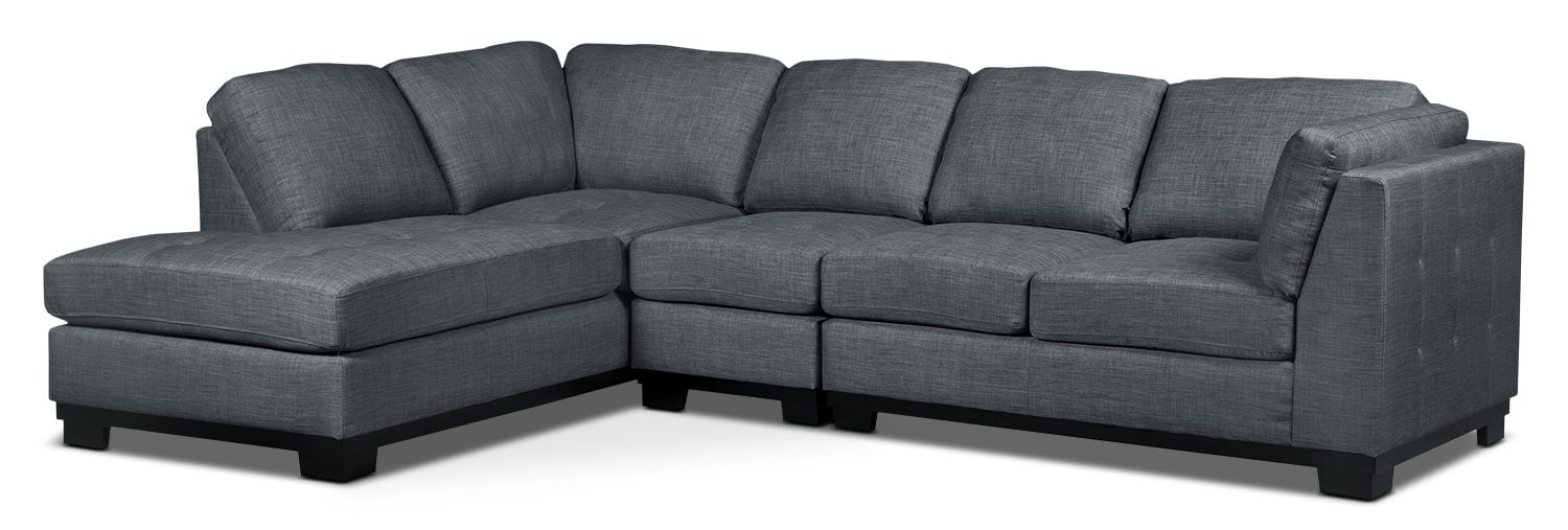 Oakdale 3-Piece Linen-Look Fabric Left-Facing Sectional – Steel