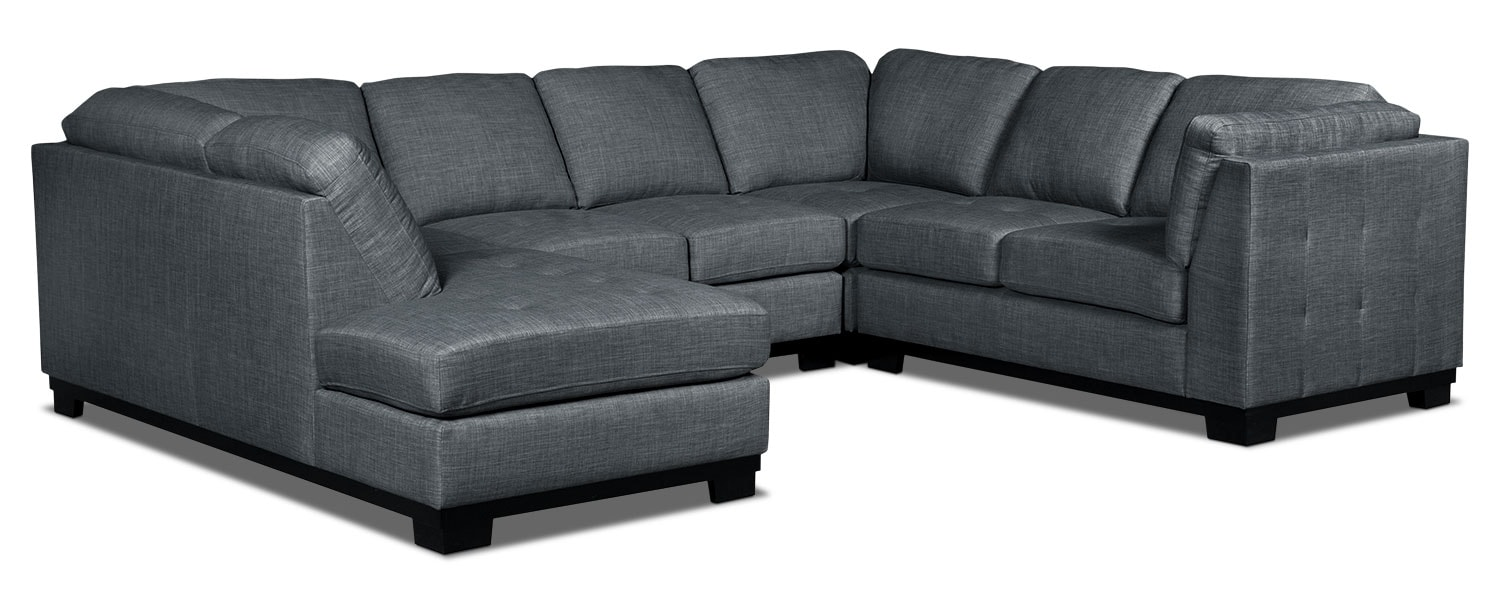 Living Room Furniture - Oakdale 4-Piece Linen-Look Fabric Left-Facing Sectional – Steel