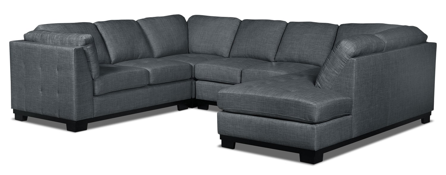 Oakdale 4-Piece Linen-Look Fabric Right-Facing Sectional – Steel