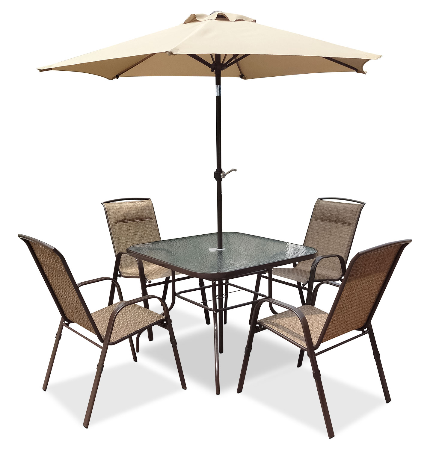 outdoor furniture corliving 6 piece patio dining set with umbrella
