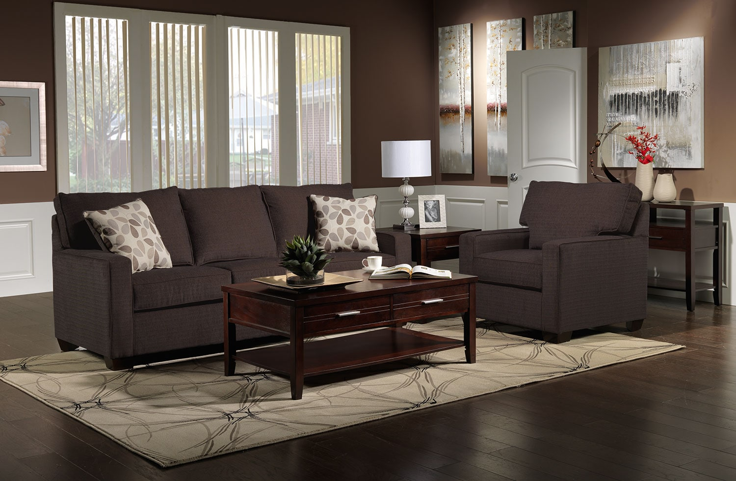 Perkin Sofa and Chair Set - Deep Brown