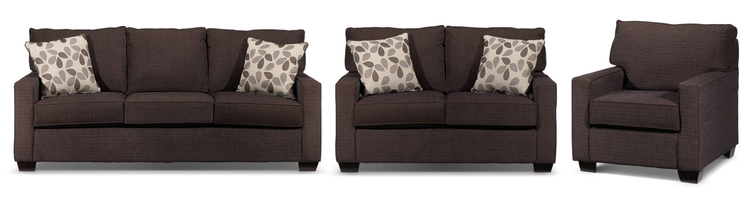 Perkin Sofa, Loveseat and Chair Set - Deep Brown