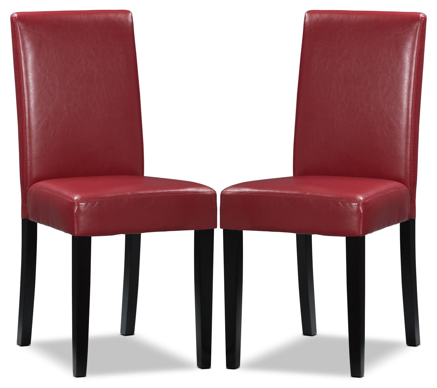 Red faux leather accent dining chair set of 2 the brick for Red dining room chairs