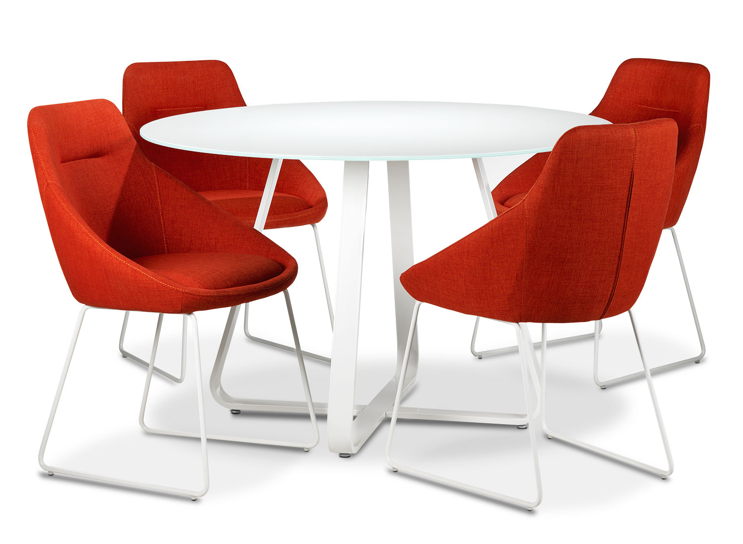 Casual Dining Room Furniture - Sunshine 5-Piece Dinette Set - Poppy Red