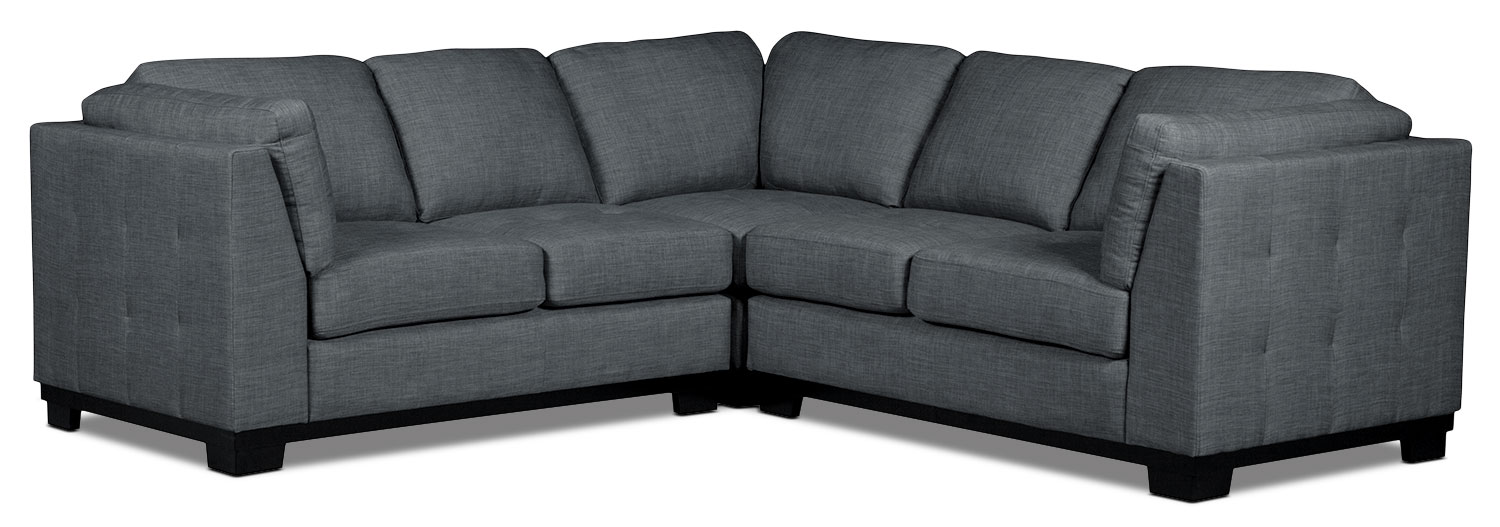 Living Room Furniture - Oakdale 3-Piece Linen-Look Fabric Living Room Sectional – Steel