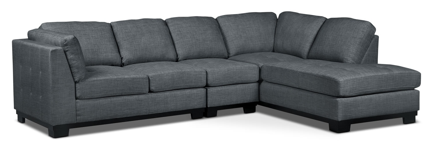 Oakdale 3-Piece Linen-Look Fabric Right-Facing Sectional – Steel