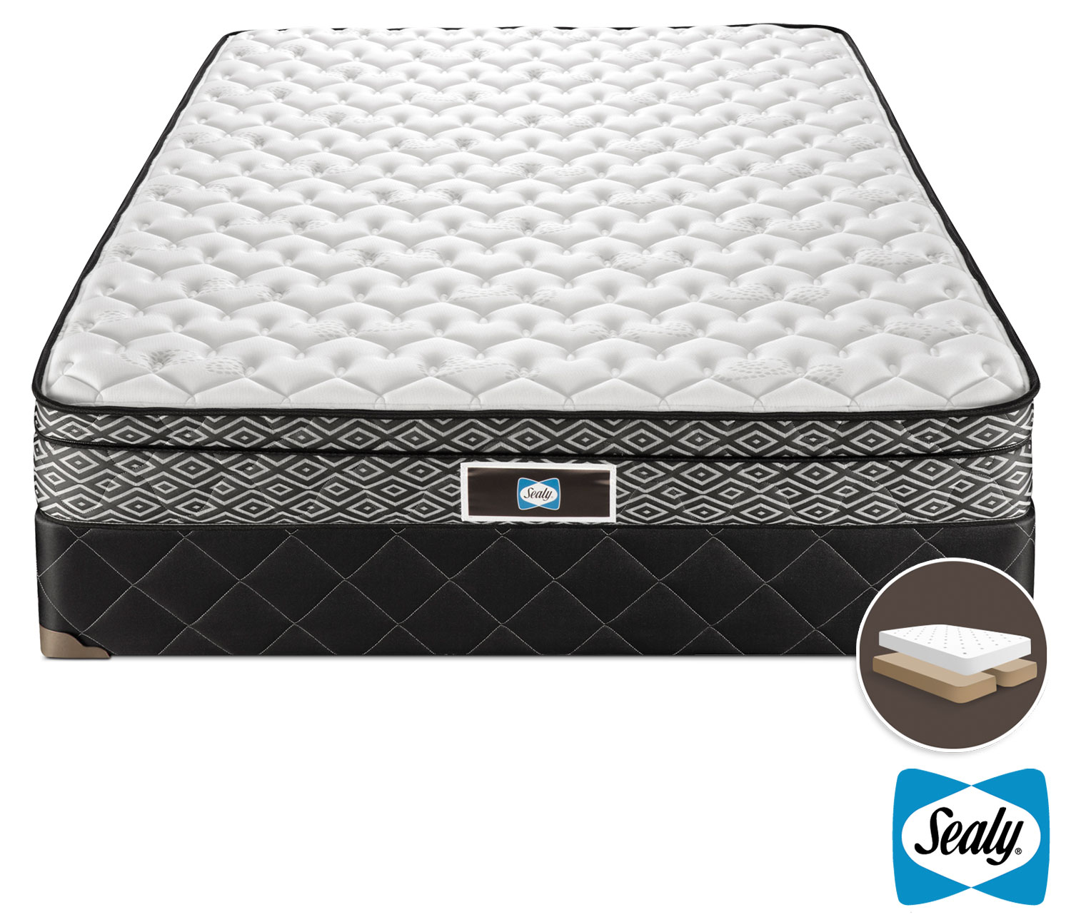 Mattresses and Bedding - Sealy Tale Firm Queen Mattress/Split Boxspring Set
