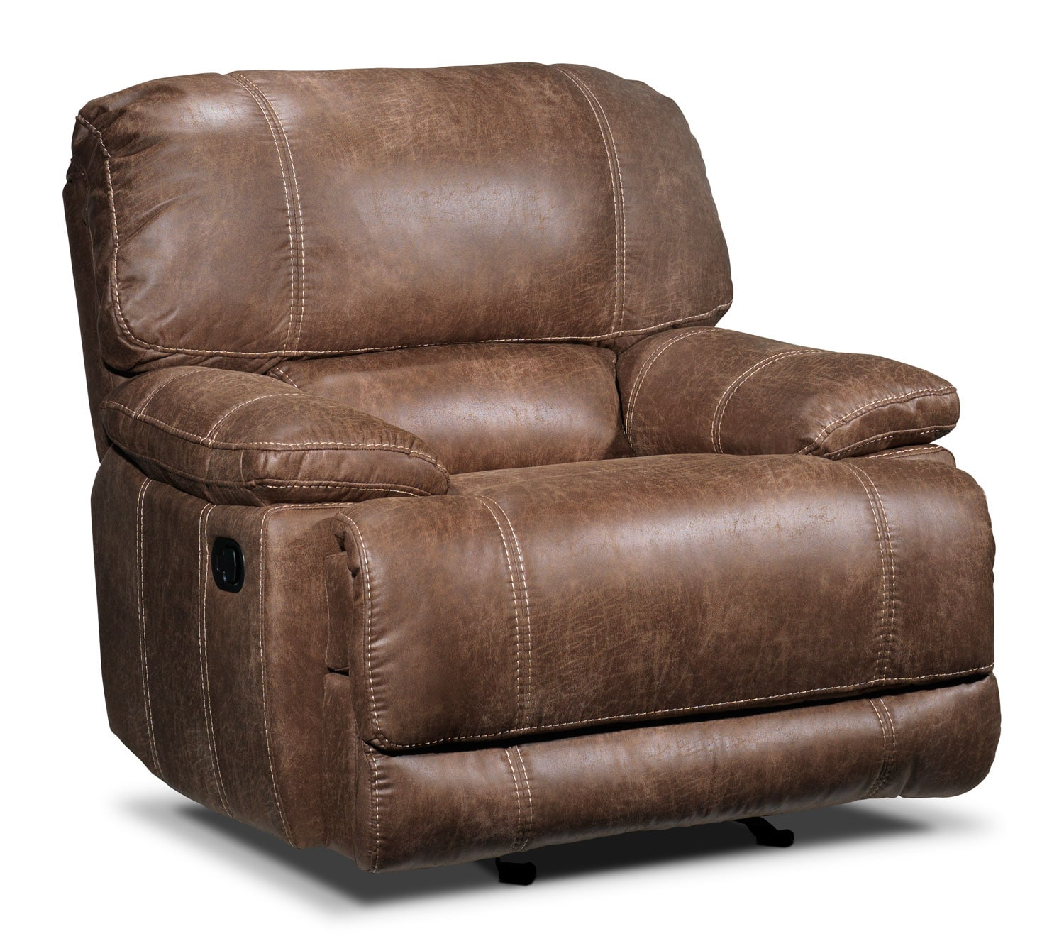Living Room Furniture - Durango Glider Recliner - Saddle Brown