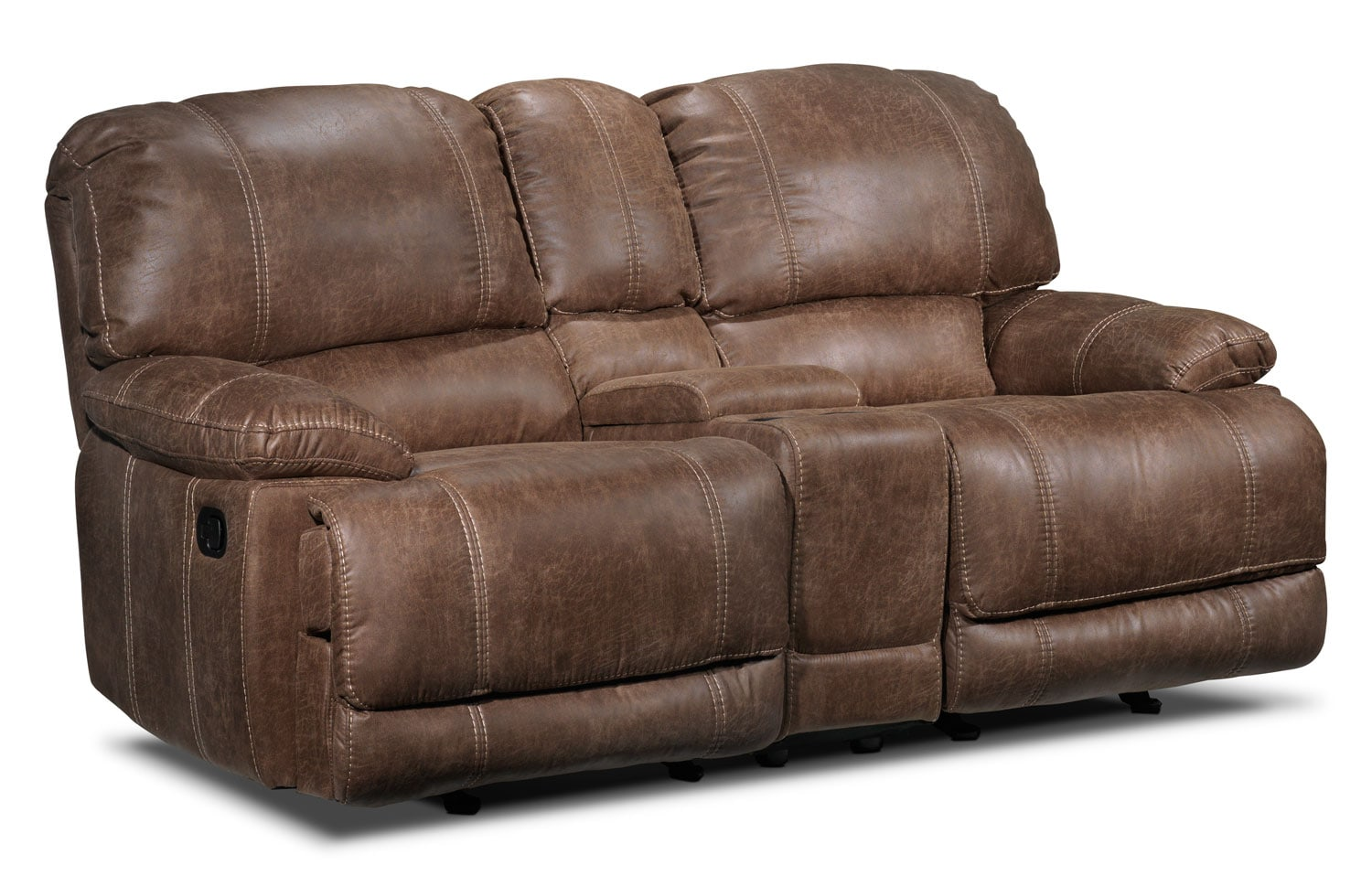 Durango reclining loveseat w console saddle brown leon 39 s Reclining loveseat with center console
