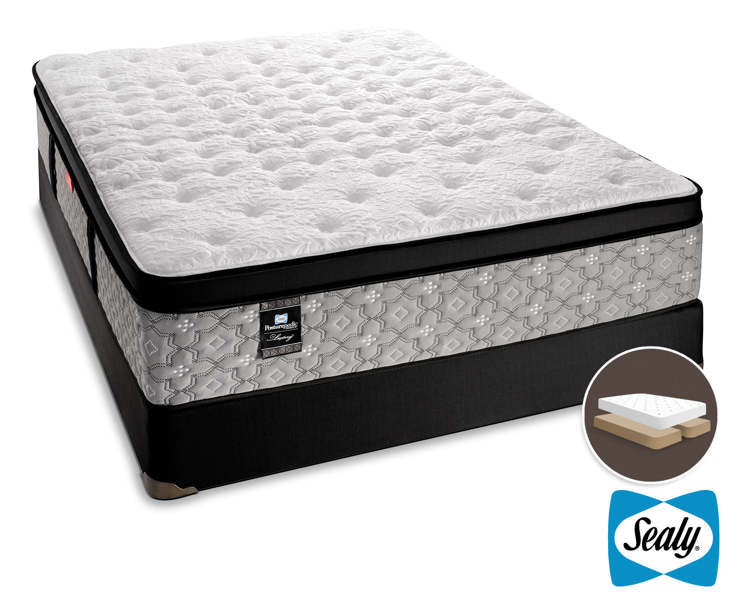 Mattresses and Bedding - Sealy Hemmingway Cushion Firm Queen Mattress and Split Boxspring Set