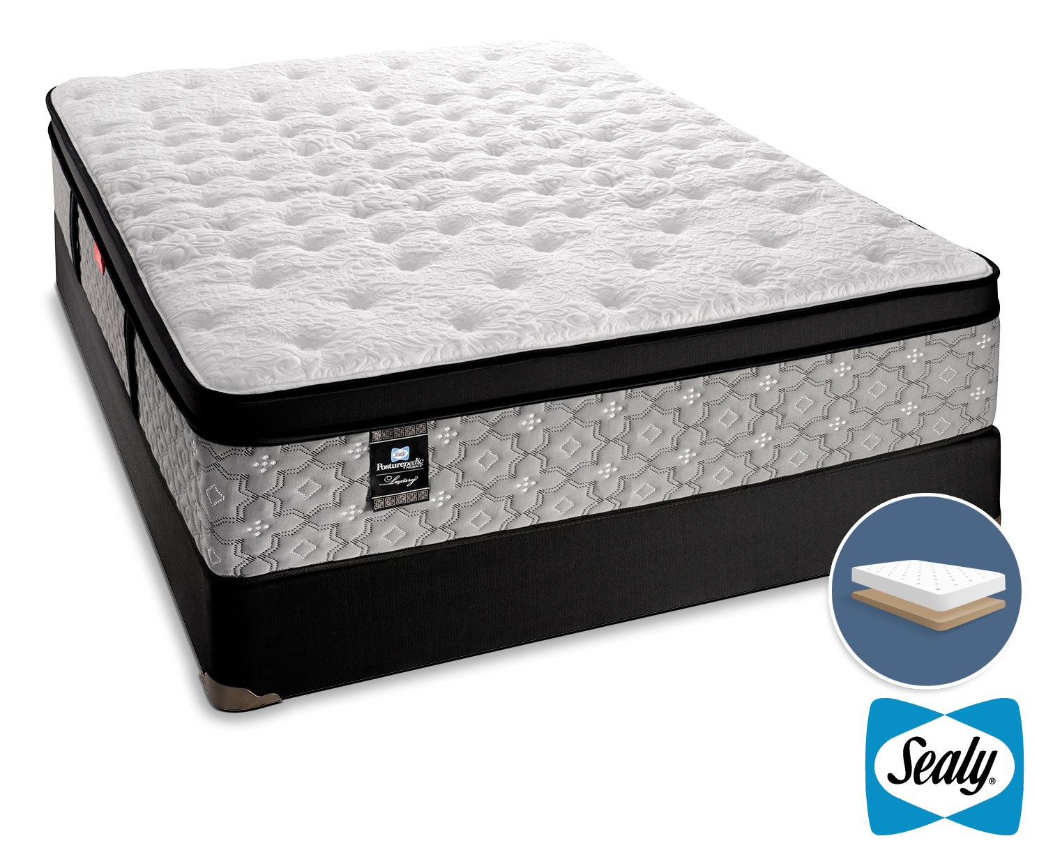 Mattresses and Bedding - Sealy Hemmingway Cushion Firm Queen Mattress and Low-Profile Boxspring Set