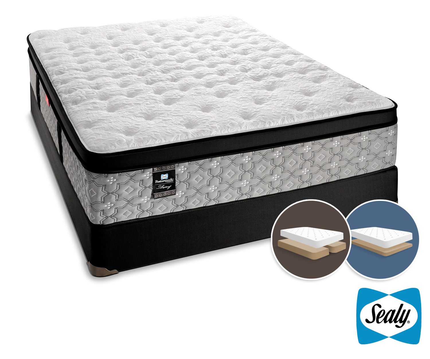 Mattresses and Bedding - Sealy Hemmingway Cushion Firm King Mattress and Low-Profile Split Boxspring Set