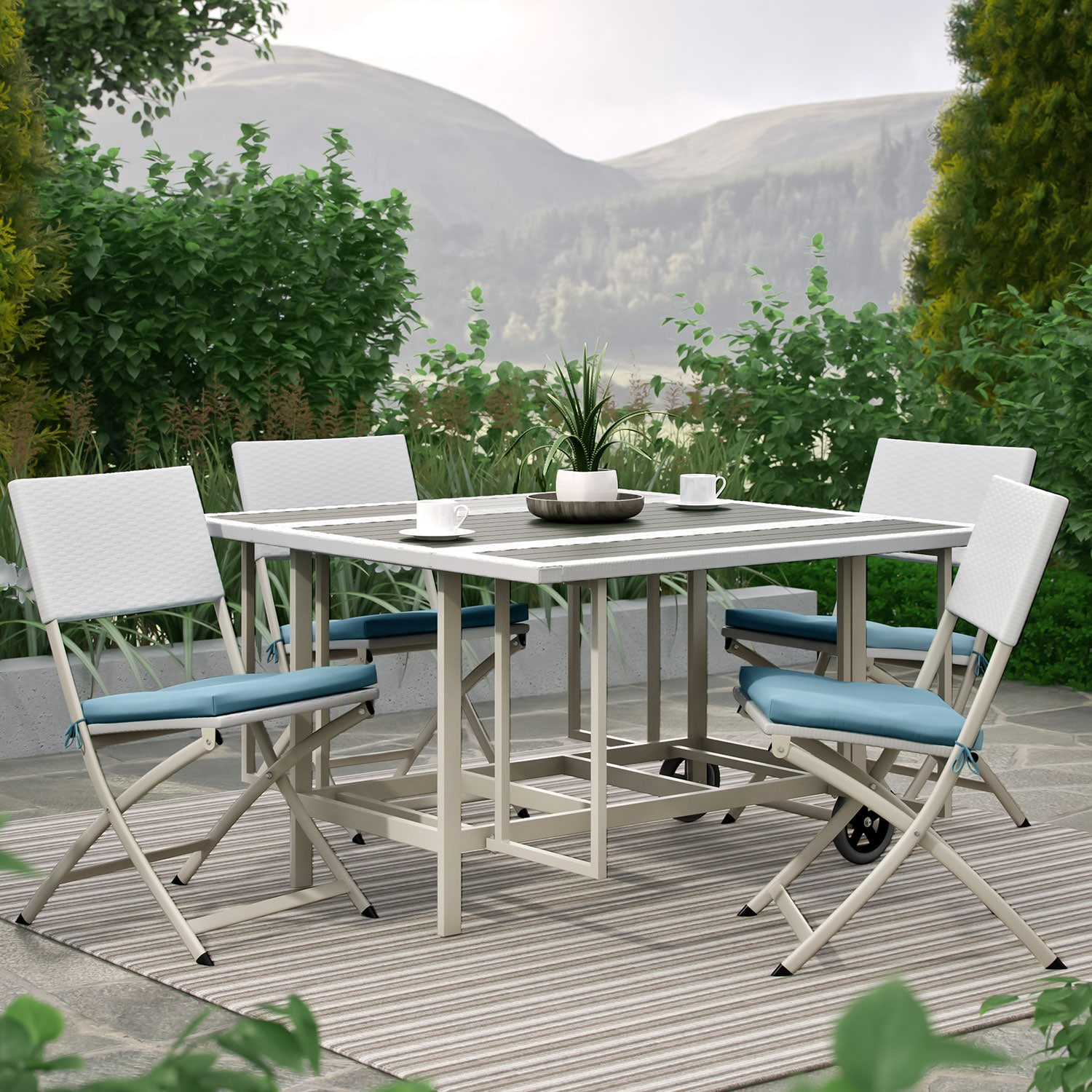 Outdoor Furniture - Stowable Folding 5-Piece Patio Dining Set