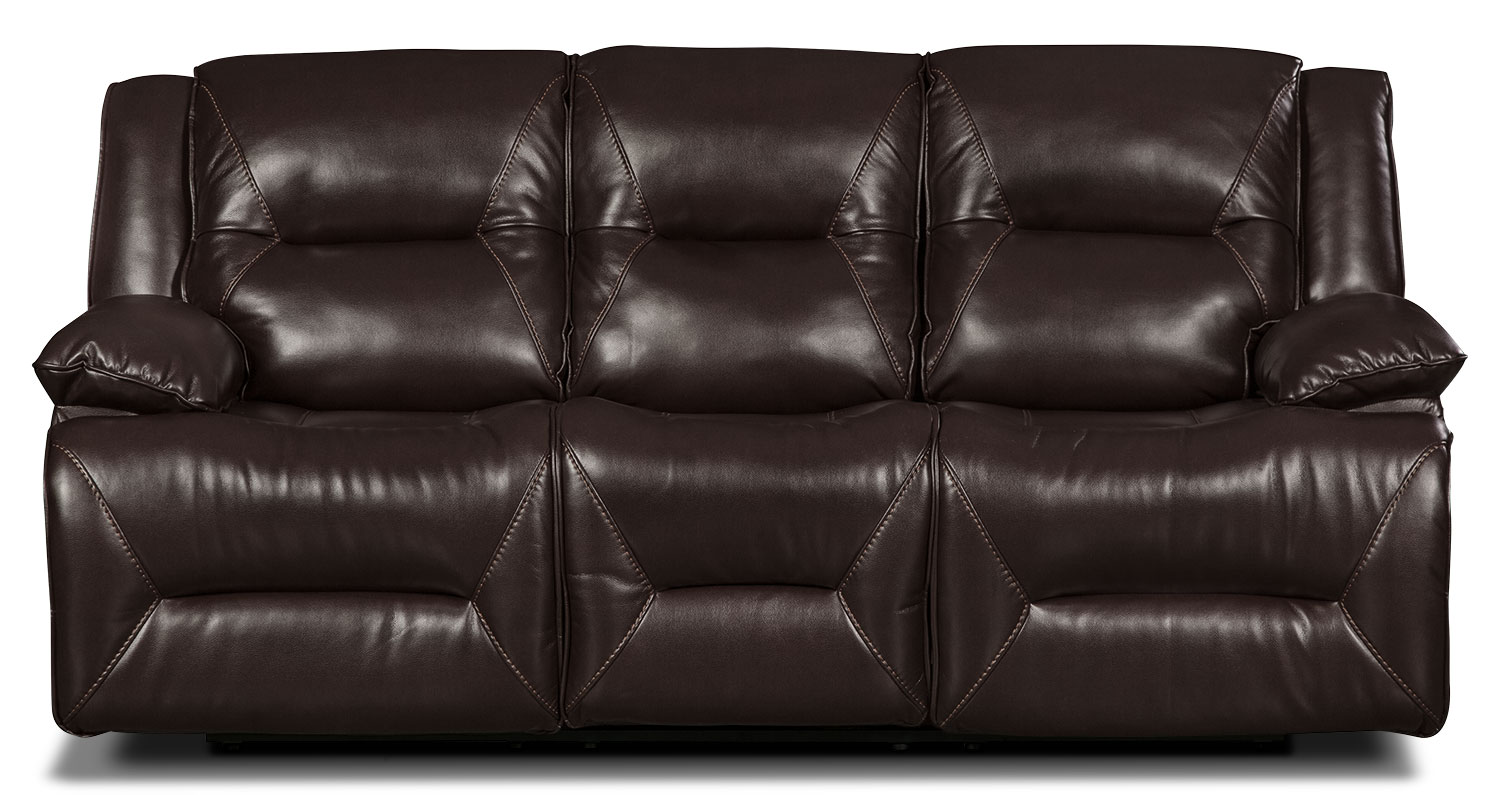 Living Room Furniture - Lancer Leather-Look Fabric Power Reclining Sofa – Brown