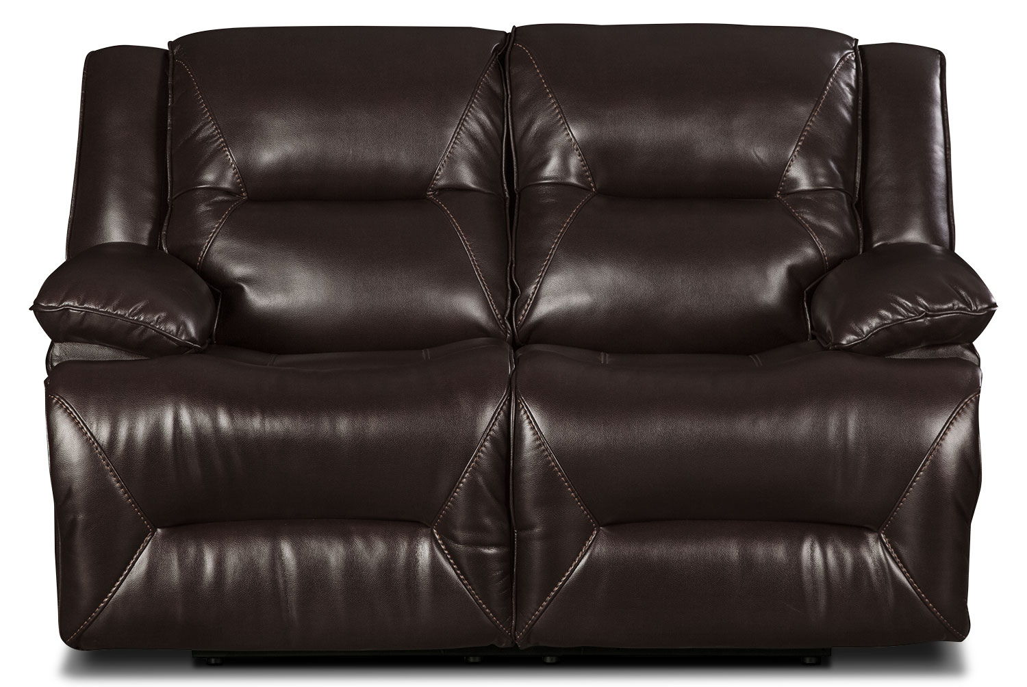 Lancer Leather-Look Fabric Power Reclining Loveseat – Brown