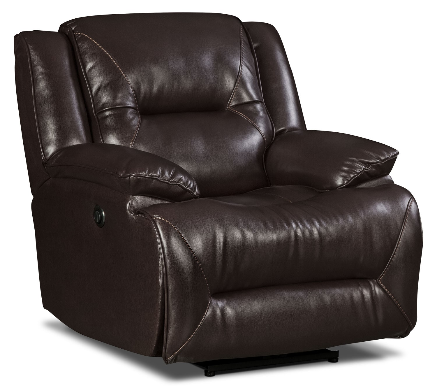 leather fabric chair lancer leather look fabric power reclining chair brown 16627 | 450858