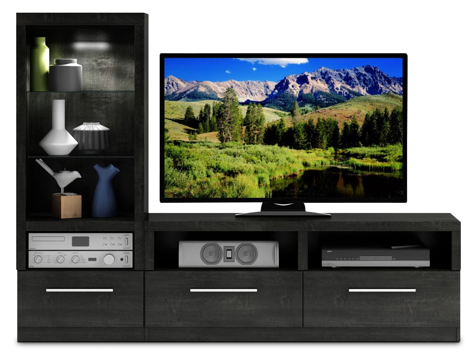 Entertainment Furniture - Rhea 2-Piece TV Wall Unit - Charcoal Grey