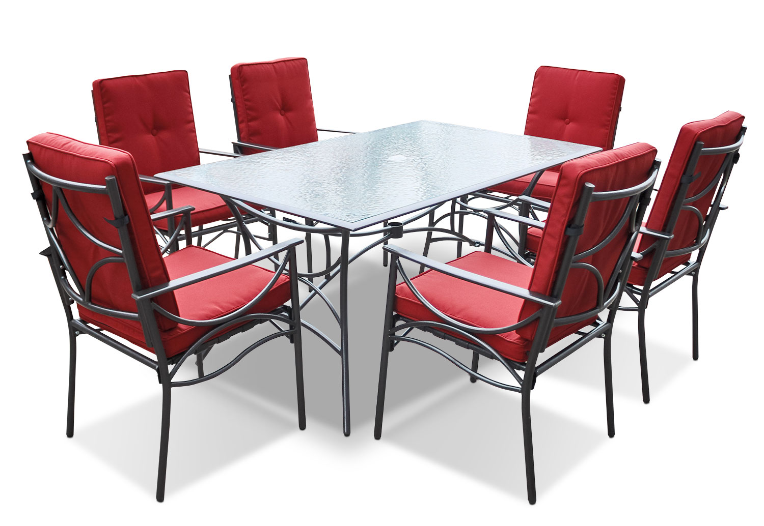 Seattle 7-Piece Patio Dining Set – Red
