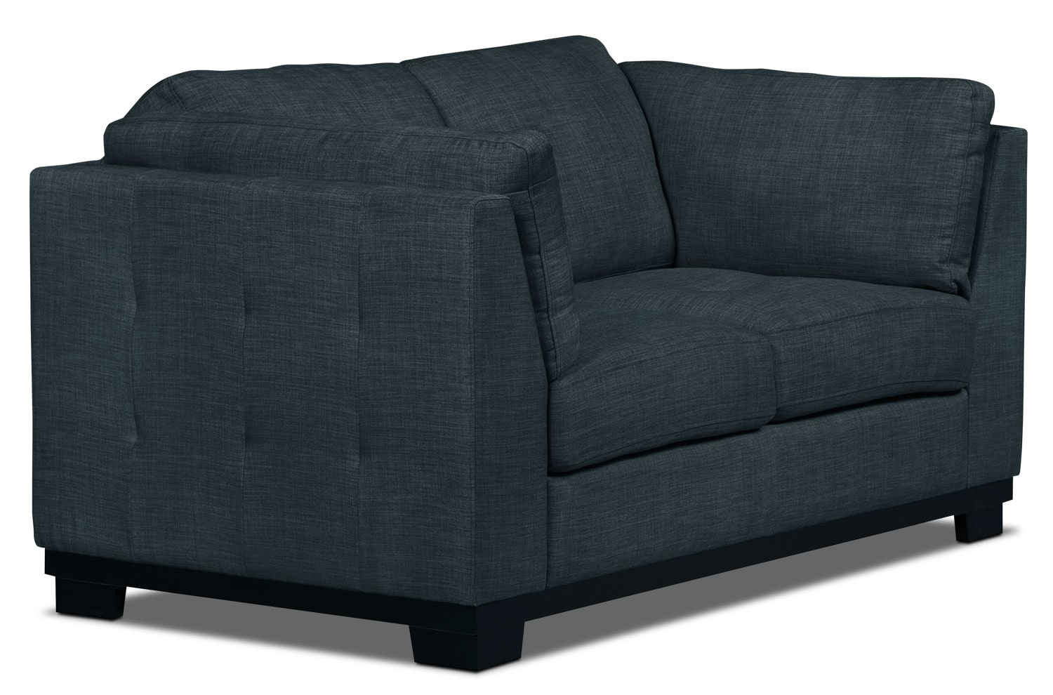 Oakdale linen look fabric loveseat denim the brick Denim loveseat