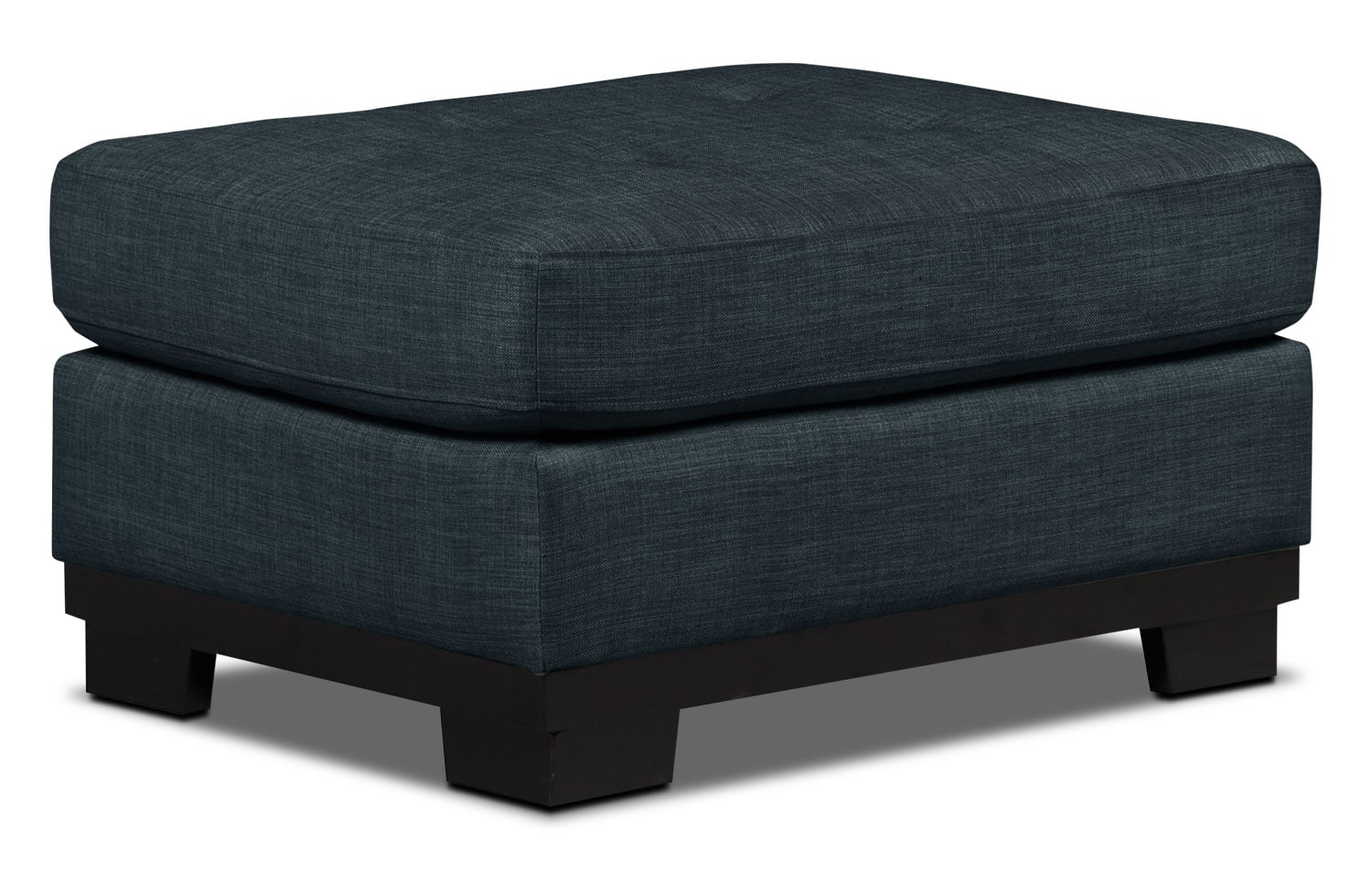 Living Room Furniture - Oakdale Linen-Look Fabric Ottoman – Denim