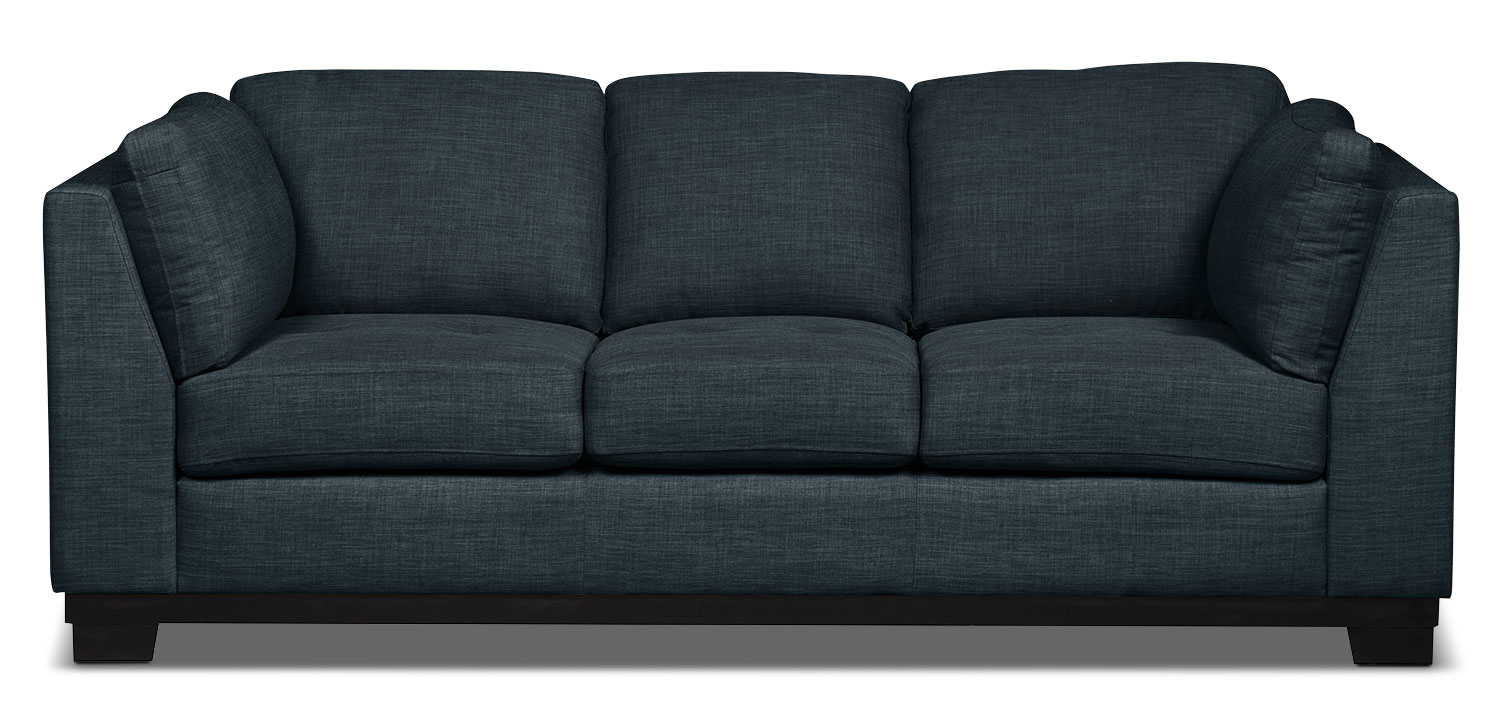 Living Room Furniture - Oakdale Linen-Look Fabric Sofa – Denim