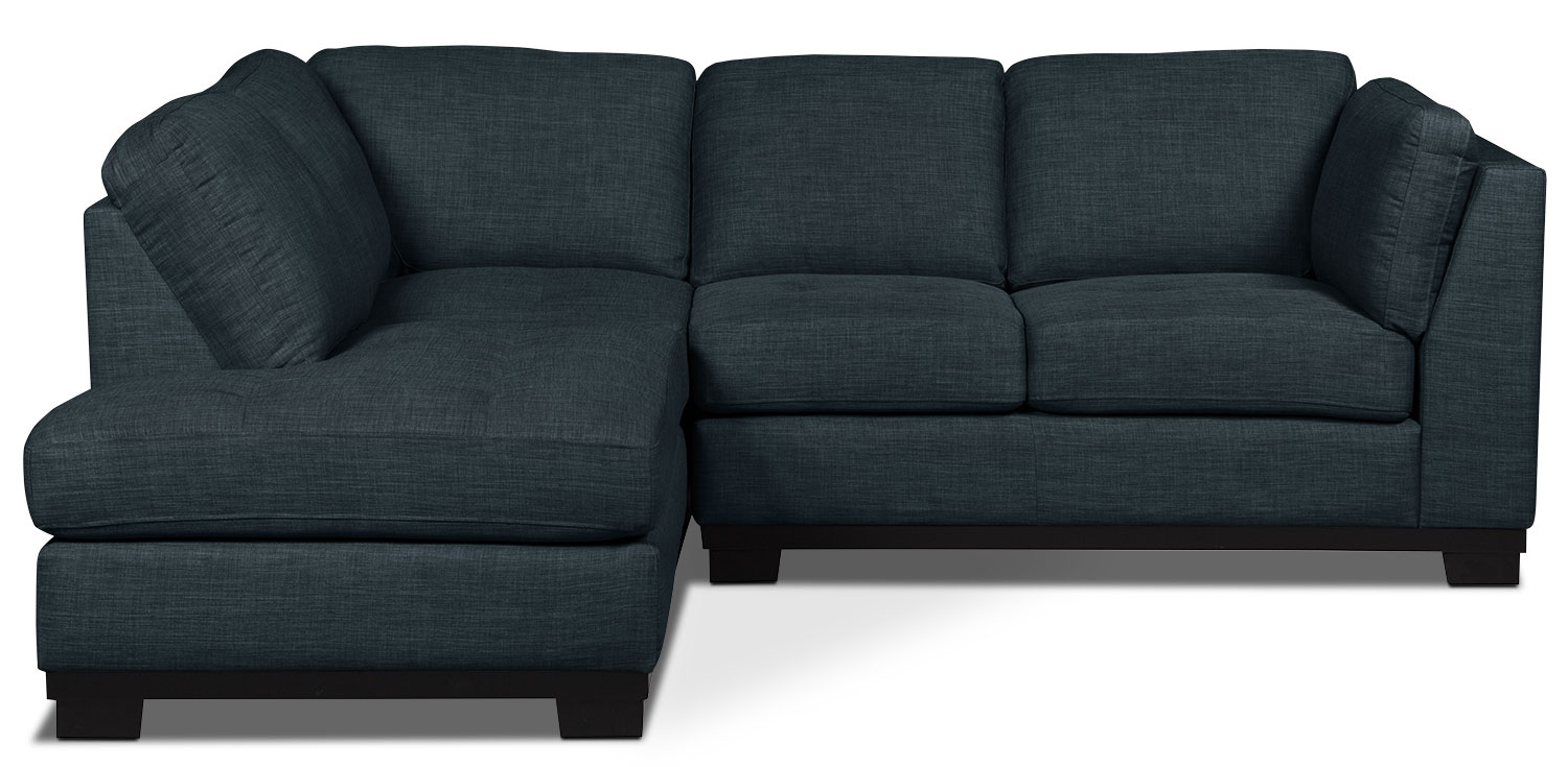 Living Room Furniture - Oakdale 2-Piece Linen-Look Fabric Left-Facing Sectional – Denim