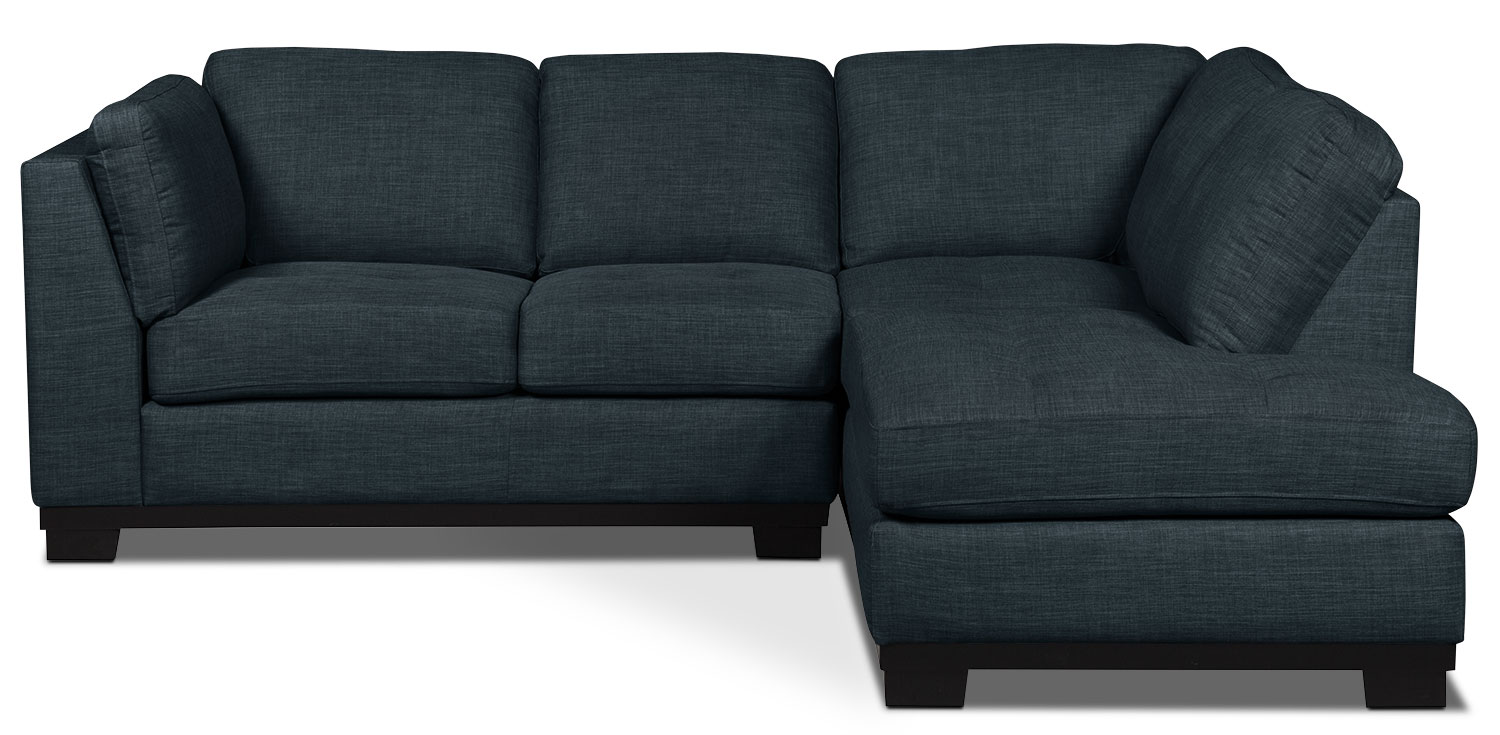 Living Room Furniture - Oakdale 2-Piece Linen-Look Fabric Right-Facing Sectional – Denim