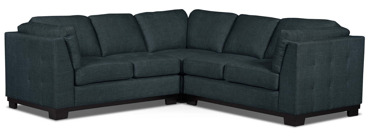 Living Room Furniture - Oakdale 3-Piece Linen-Look Fabric Living Room Sectional – Denim