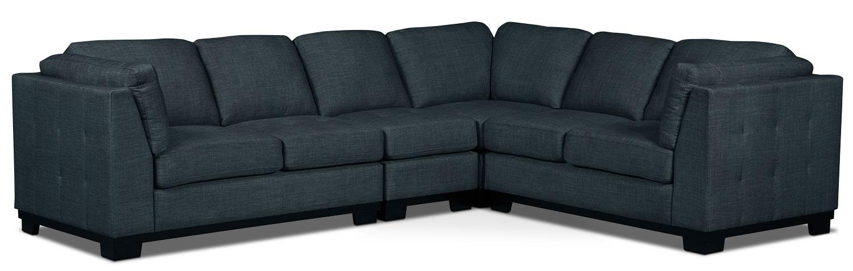 Oakdale 4-Piece Linen-Look Fabric Living Room Sectional – Denim
