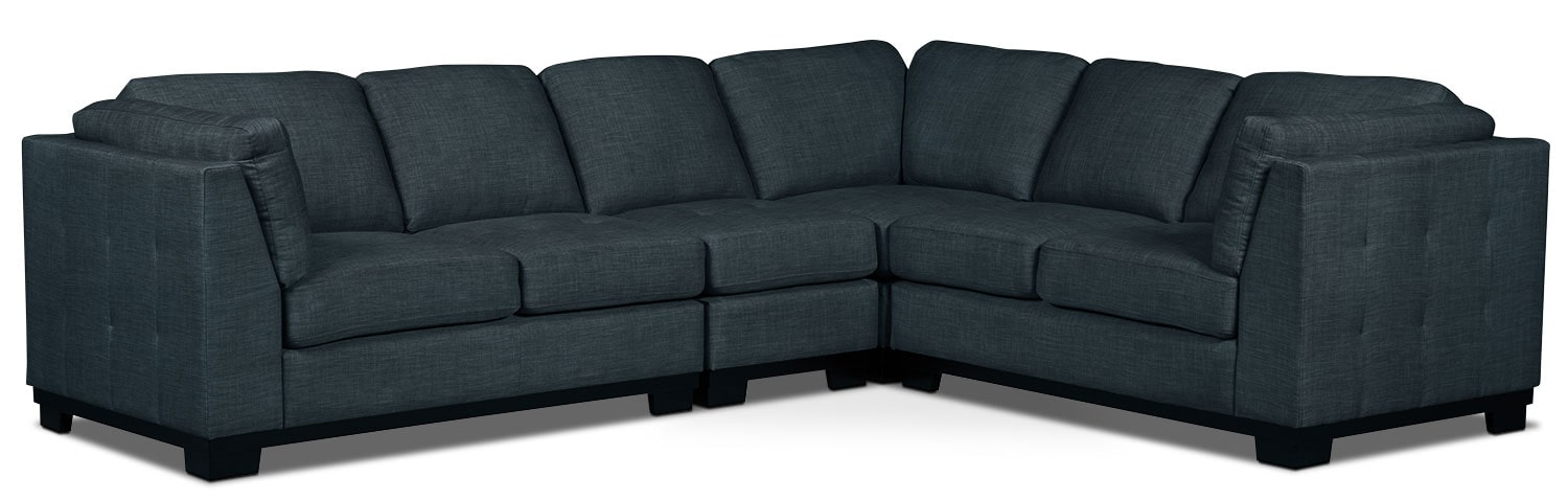 Living Room Furniture - Oakdale 4-Piece Linen-Look Fabric Living Room Sectional – Denim