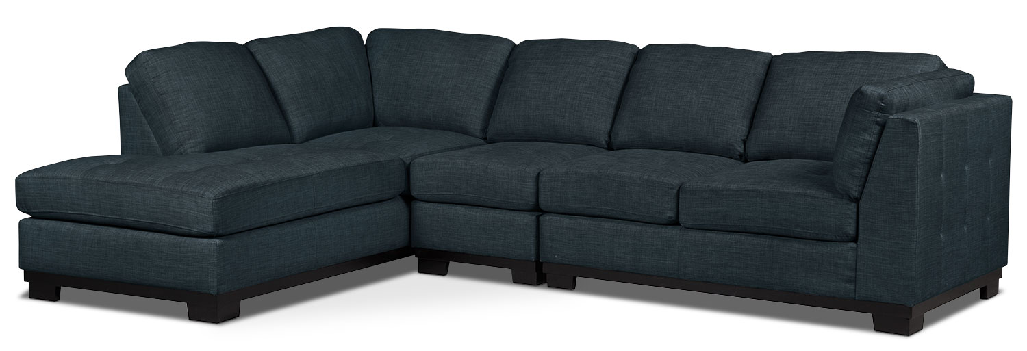 Living Room Furniture - Oakdale 3-Piece Linen-Look Fabric Left-Facing Sectional – Denim
