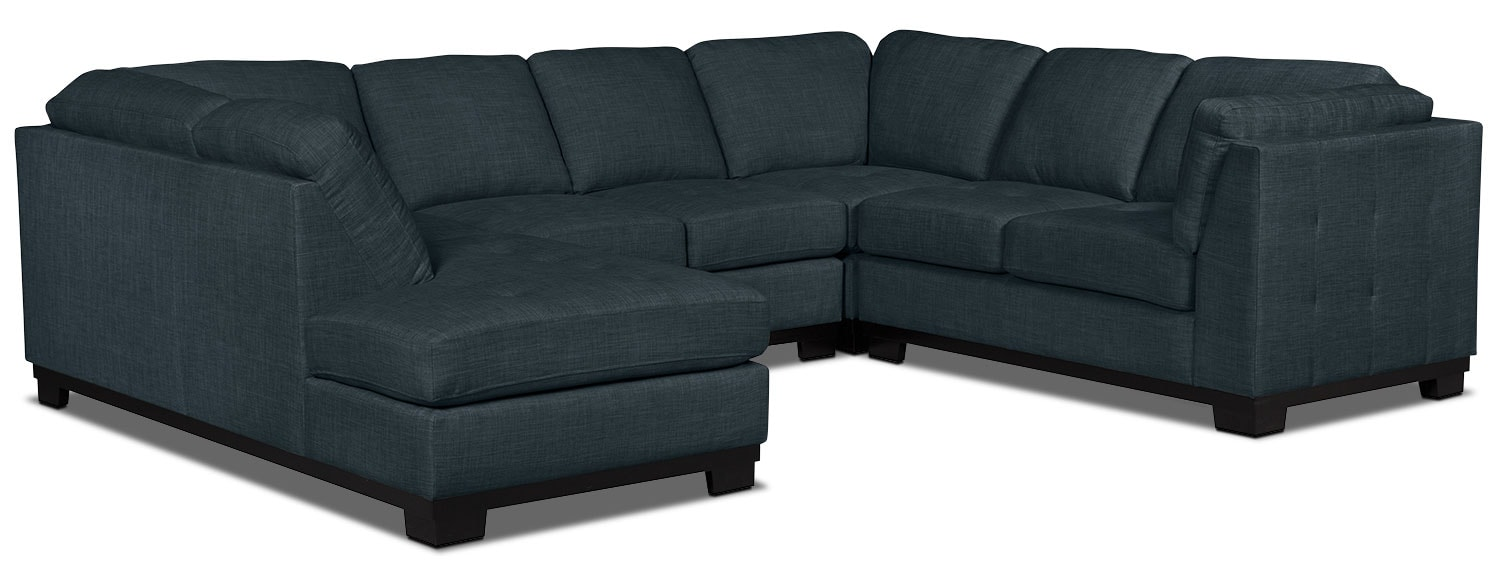 Living Room Furniture - Oakdale 4-Piece Linen-Look Fabric Left-Facing Sectional – Denim