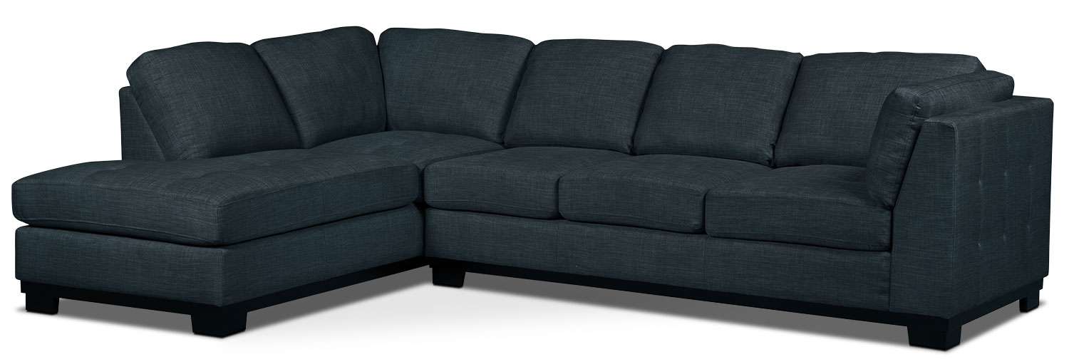 Oakdale 2-Piece Linen-Look Fabric Left-Facing Sectional with Sofa Bed – Denim