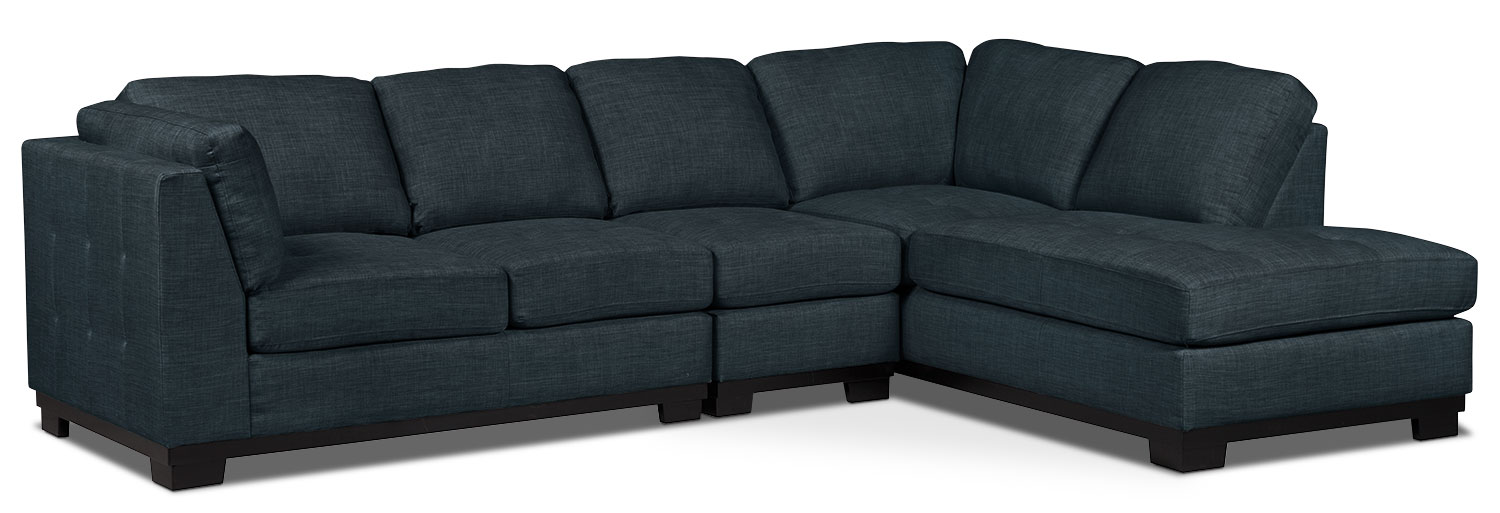Living Room Furniture - Oakdale 3-Piece Linen-Look Fabric Right-Facing Sectional – Denim