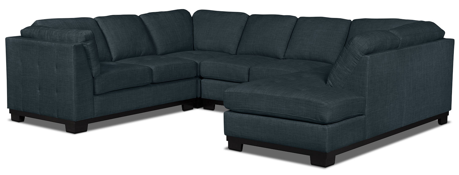 Living Room Furniture - Oakdale 4-Piece Linen-Look Fabric Right-Facing Sectional – Denim