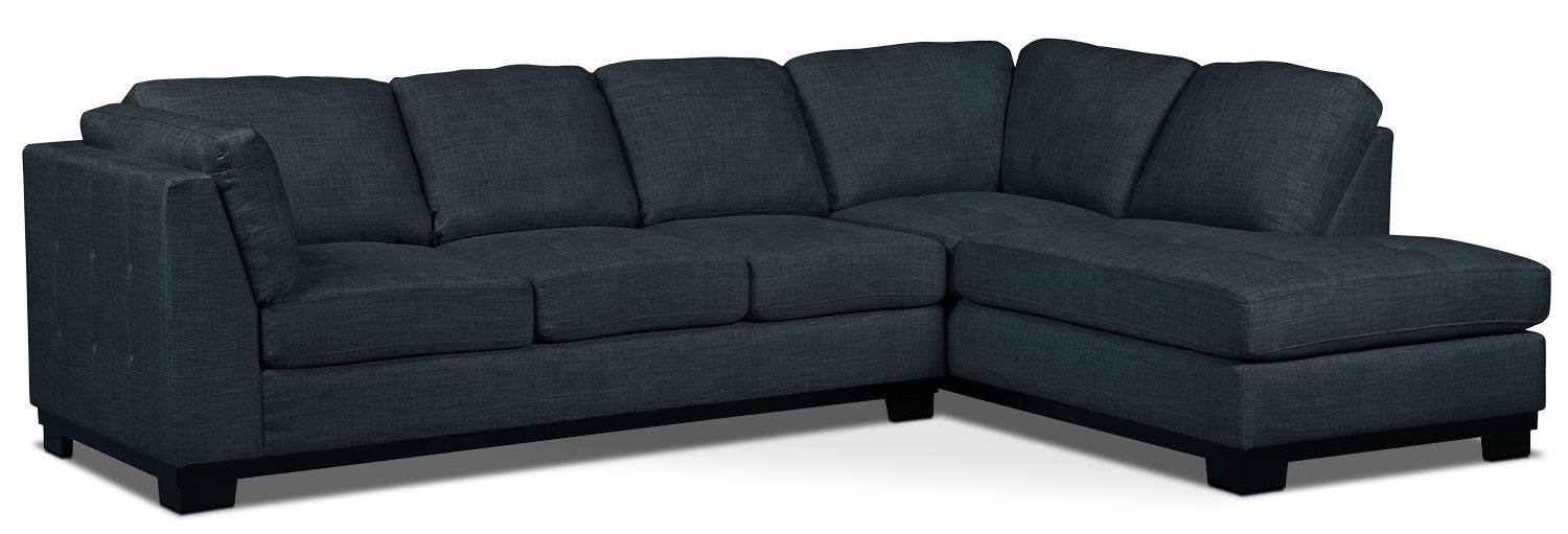Living Room Furniture - Oakdale 2-Piece Linen-Look Fabric Right-Facing Sectional with Sofa Bed – Denim